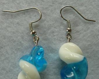 Earrings blue white