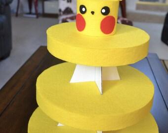 POKEMON CUPCAKE STAND - Pikachu inspired cupcake stand, Pokemon theme party, Cupcake stand, Dessert stand, Felt, Cardboard