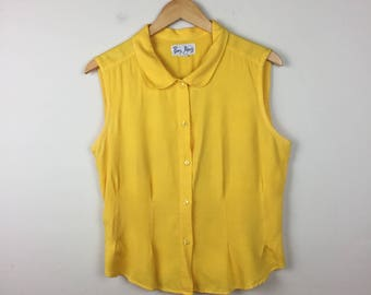 Vintage Sleeveless Blouse, Yellow Blouse, Yellow Sleeveless Button Up