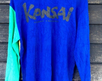 SALE Vintage Kansai by Kansai Yamamoto polos Tshirt Spell Out on Back Colorblock Blue/Yellow/Green Rare Designer