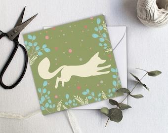Jumping Fox Greeting Card - Green