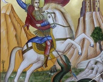 Saint George, Christian orthodox byzantine icon, original hagiography, Άγιος Γεώργιος ο τροπαιοφόρος, hand painted on request, αγιογραφία