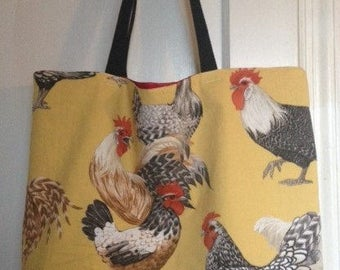 Large Hens Tote Bag, market tote, shopping tote, beach tote, grocery tote, All Purpose tote, Chickens