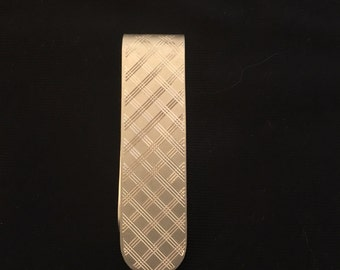 Sterling Silver Crosshatched Money Clip