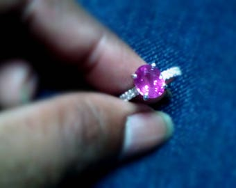 Certified 2 CT PINK Sapphire engagement ring in 18k White gold .2 carat pink Sapphire ring.pink sapphire and diamond engagement rings
