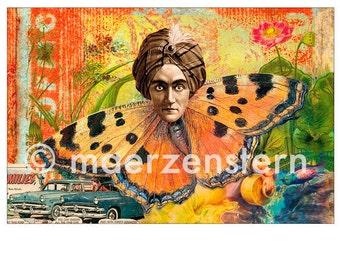 "Postcard ""Simsalabim"" (15), greeting card, birthday card, butterfly, magician, Oldtimer, Mage, flowers"
