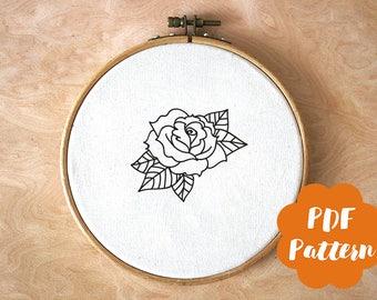 PDF embroidery Pattern - Black Rose - modern hand digital download