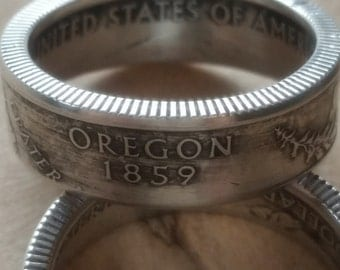 Oregon 90% Silver Coin Ring Crater Lake Coin Ring Silver Coin Ring Silver Band Free Shipping!