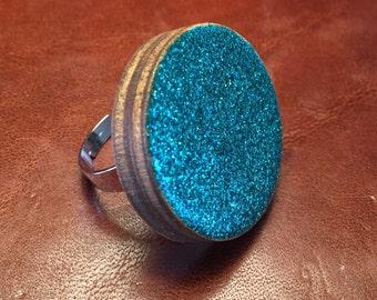 Turquoise glitter Ring 3 cm