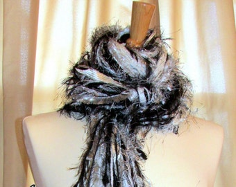 "Fringe scarf, Black, white and silver ""Bling"", Knotted Scarf, wearable art, Womens Scarves, art scarf, womens gifts, Boho scarf, photo prop"
