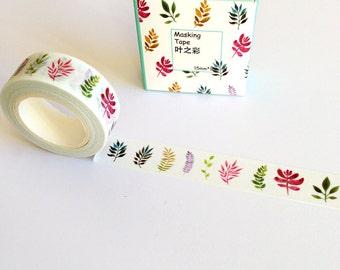Leaf Print Washi Tape 10m, journaling planner supplies, nature masking tape, scrapbooking card making, botanical washi tape, craft supply