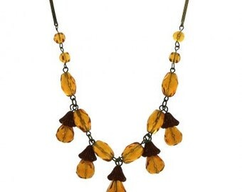 1930s Amber Glass and Celluloid Acorn Vintage Necklace