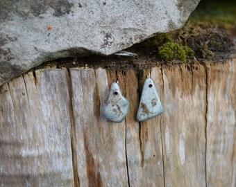 Green/grey/brown African Jade earrings set in silver