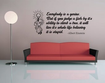 Albert Einstein Quote - Vinyl Wall Decal - Philosophy - Science - Motivation