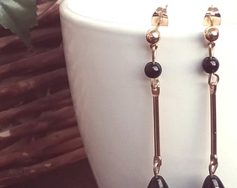 Silver plated gold and Onyx earrings