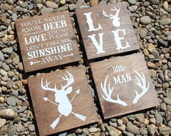 Deer Nursery Signs, Rustic Set of 4 Nursery, Wall Signs, (Little Man, Love, Deer w/Arrows, You Are My Sunshine)