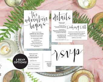 Editable wedding invitation, Rustic wedding invitation template, Printable wedding invitation set, Wedding details card, Editable PDF