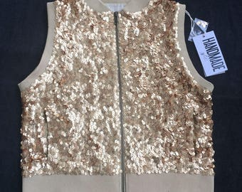 Golden sequin sleeveless leather jacket