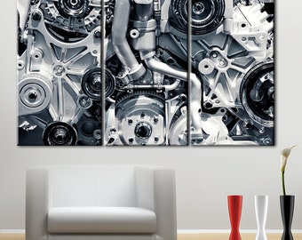 Engine, car engine, car engine print, car engine canvas, art printing engine, black and white, motor cars, canvas car engine