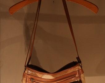 90's vintage leather bag handbag Brown patchwork