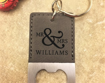 Personalized Bottle Opener Keychain - Mr & Mrs Bottle Opener  - Customized - Wedding Gift - Bottle Opener - Keychain - Anniversary Gift