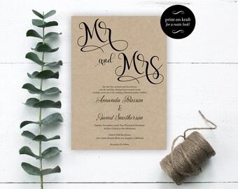 Mr. and Mrs. Wedding Invitation - Wedding Invitation Template - Editable Template - Editable Text - Downloadable Wedding #WDH0195