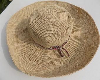 Hat woman, sunbonnet, 56 cm, natural, liberty, raffia straw hat hat, flexible hat, Sun Hat, hat of city, beach, handmade