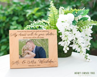 Wedding Gift for Husband, Wife, Spouse on Wedding Day, Wood Frame, Custom Engraving, Mr. Mrs., My Heart Will Be Your Shelter Quote
