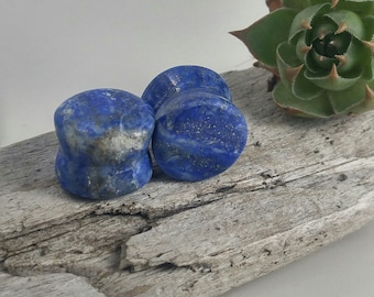 "Lapis Lazuli plugs, stone body jewelry, flared ear plugs, organic stone plugs, handmade plugs, stone plugs 1/2"", organic ear stretchers"