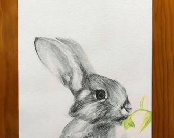 Print of an original watercolour drawing - Rabbit with leaf