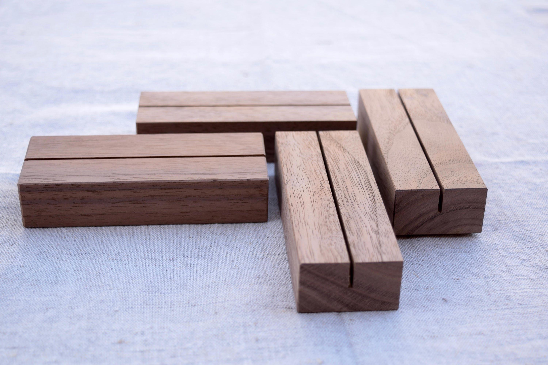 Calendar Wood Stand : Table number holders walnut stand set menu