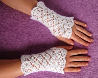 Spring White Mittens Crochet Fingerless Gloves Knit Fashion Boho Fashion Wrist Warmers Arm Warmers Mitts Glamour White Gloves Short Mittens
