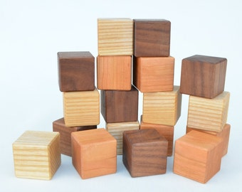 Wooden Toy Blocks - 18 Piece Wooden Blocks Building Set