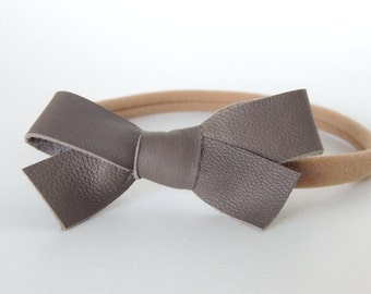 Leather Bow Baby Headband, leather baby bow, nylon headband, handmade, baby headband, simple headband, trendy headband