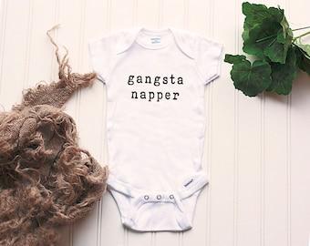 Gangsta Napper Onesie® - new baby Onesie®, unisex Onesie®, funny bodysuit, take home outfit, baby shower gift, push present, funny Onesie®