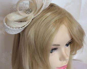Sonya, lace and crystal detail fascinator, Hair accessory, bride, bridesmaid, flowergirl, wedding