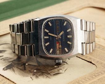 Soviet watch Slava (Glory) with calendar-Automatic watch USSR-vintage wrist watch men-27 jewels-gift for him 80s-russian watch