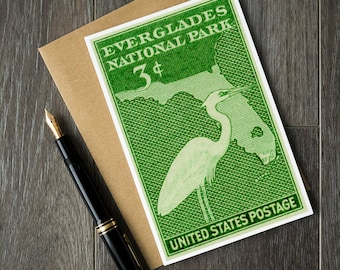 Florida birthday cards, Florida Christmas cards, Everglades National Park cards, ornithologist gift ideas, birdwatcher birthday cards
