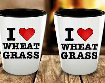 I Love Wheatgrass Shot Glasses - Cute Shotglasses - Vegan Gifts - Healthy Gifts - Designer Shot Glass - Gifts for Vegetarians - Juice Glass