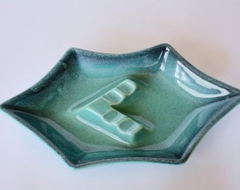 Royal Haeger Ashtray 138, Turquoise and Blue, Haeger USA, Midcentury, Modern, Art Pottery, Tobacciana, Vintage Ashtray, Pottery Ashtray