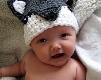 Wolf ears hat photo prop/ wolf beanie cap/ ear flaps/ gift/ preemie, baby,child,adult animal hat/ crochet animal hat/ wolf hat with ears