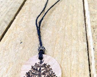 Tree Necklace, Wood Burned Pyrography