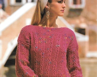 Argyll Knitting Pattern for a Lacy Rib Sweater With Slash Neck.