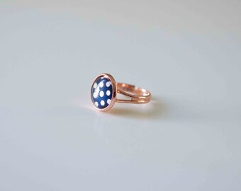 Glass Cabochon Ring,  Navy Blue with White Spot in Rose Gold plated adjustable ring