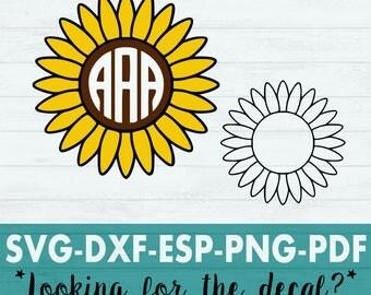 Sunflower Svg - Flower Svg - Daisy Svg - Daisy svg - Sunflower Cut File - Sunflower Monogram - Spring Svg - Spring time Svg - Garden Svg