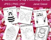 Valentine's Day Coloring Cards - Set of 6