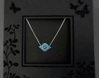 Blue Evil Eye Necklace, evil eye silver necklace, evil eye CZ charm, collana malocchio, Collar del ojo malvado, Collier de mauvais oeil
