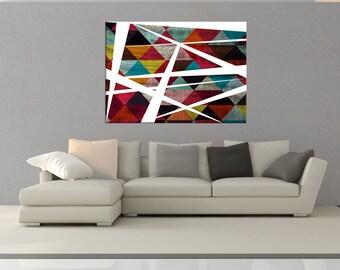 Modern Wall art canvas, mid century modern canvas art, colorful wall art print, Geometric Wall art, canvas abstract wall art No.730