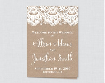 Printable OR Printed Wedding Program Booklet - Rustic Burlap and Lace Wedding Ceremony Programs, Personalized Wedding Program Template 0002