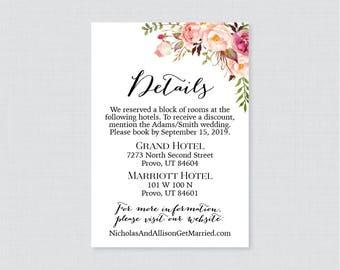 Printable OR Printed Wedding Details Cards - Pink Floral Wedding Details Inserts - Rustic Flower Wedding Details Invitation Insert 0004
